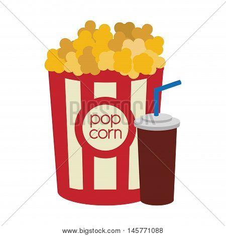 pop corn soda film cinema movie entertainment show icon. Flat and Isolated design. Vector illustration