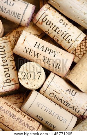 Happy New Year card with wine corks