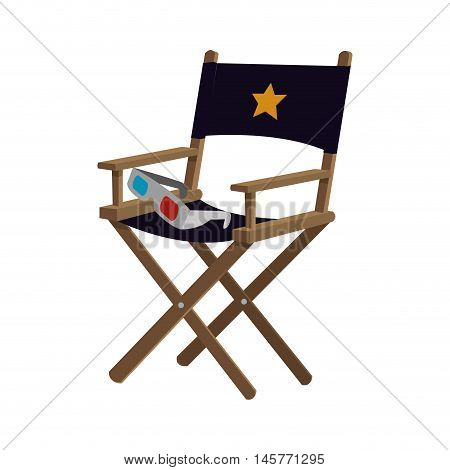 director chair film 3d glasses cinema movie entertainment show icon. Flat and Isolated design. Vector illustration