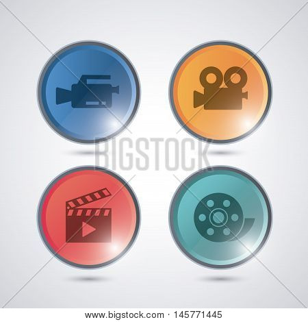 videocamera clapboard play and film reel buttons. Video movie cinema and media theme. Colorful design. Vector illustration