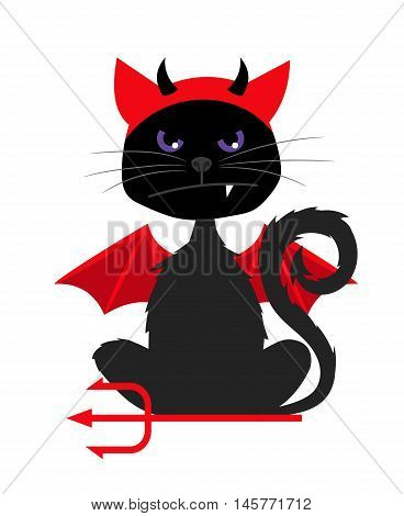Grumpy halloween cat with devil bat wings isolated on white background vector illustration for halloween party invitation