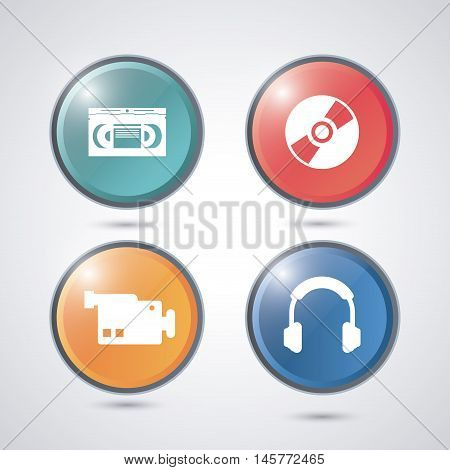 videocamera cd and headphone buttons. Video movie cinema and media theme. Colorful design. Vector illustration