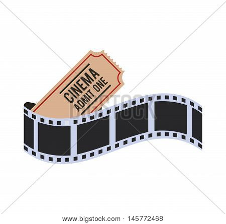 film strip ticket cinema movie entertainment show icon. Flat and Isolated design. Vector illustration
