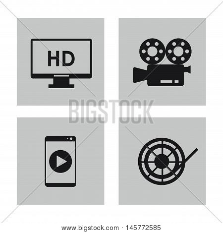 videocamera tv smartphone and film reel icon. Video movie cinema and media theme. Black and white design. Vector illustration