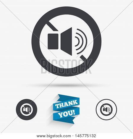 Speaker volume sign icon. No Sound symbol. Flat icons. Buttons with icons. Thank you ribbon. Vector