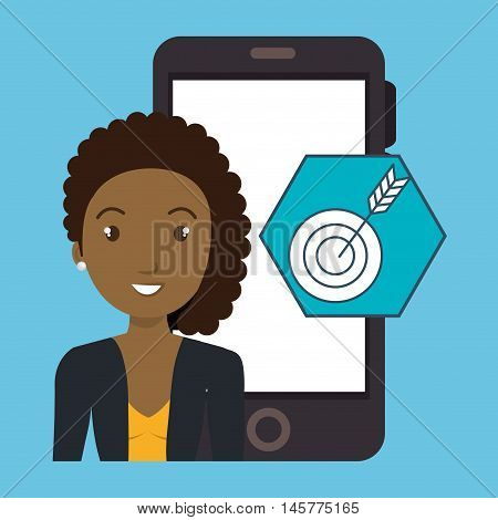 woman smartphone applications target vector illustration eps 10