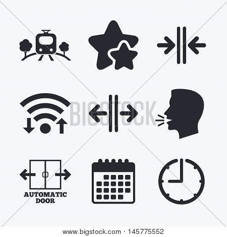 Train railway icon. Overground transport. Automatic door symbol. Way out arrow sign. Wifi internet, favorite stars, calendar and clock. Talking head. Vector