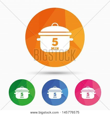 Boil 5 minutes. Cooking pan sign icon. Stew food symbol. Triangular low poly button with flat icon. Vector