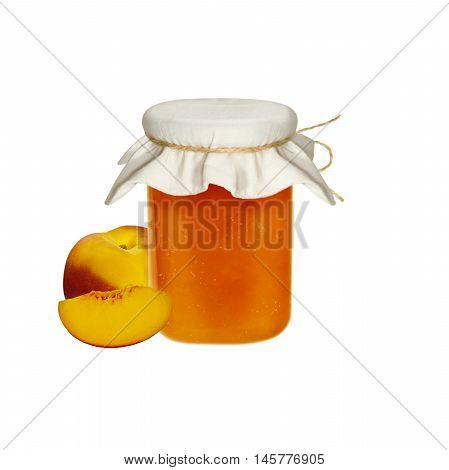 Peach Jam and fresh peaches isolated on white background