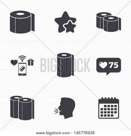 Toilet paper icons. Kitchen roll towel symbols. WC paper signs. Flat talking head, calendar icons. Stars, like counter icons. Vector
