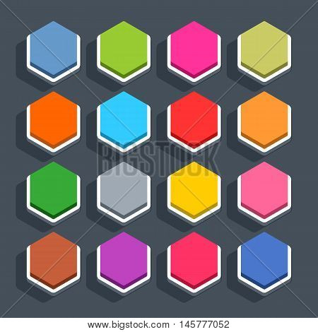 16 3d blank icon in flat style. Set 02 inactive variant . Colored matted hexagon button with shadow on gray background. This vector illustration web internet design element saved in 8 eps
