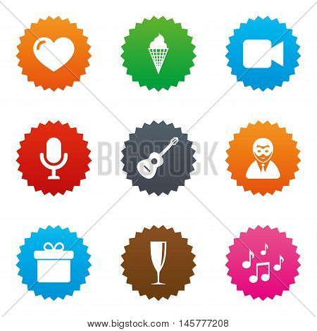 Party celebration, birthday icons. Carnival, guitar and champagne glass signs. Gift box, ice cream and love symbols. Stars label button with flat icons. Vector
