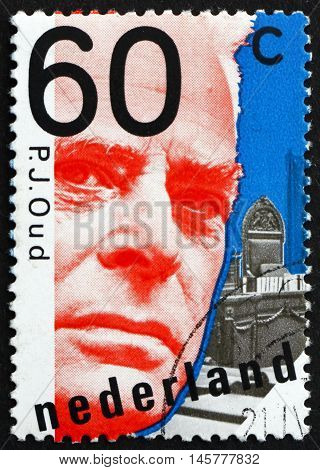 NETHERLANDS - CIRCA 1980: a stamp printed in Netherlands shows Pieter Jacobus Oud Politician Mayor of Rotterdam circa 1980