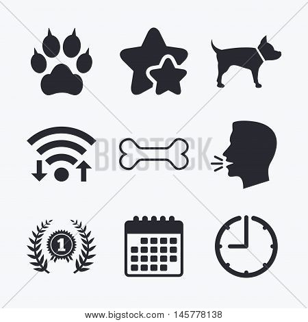 Pets icons. Cat paw with clutches sign. Winner laurel wreath and medal symbol. Pets food. Wifi internet, favorite stars, calendar and clock. Talking head. Vector