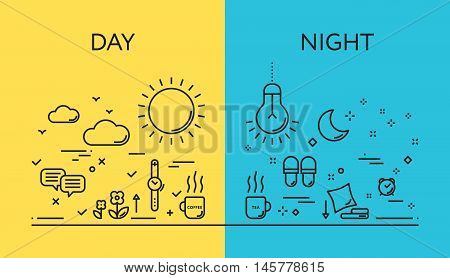 Set of modern vector illustration concepts of days and night.  Flat line design