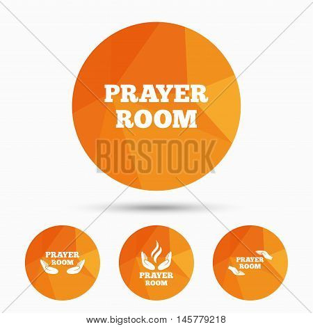 Prayer room icons. Religion priest faith symbols. Pray with hands. Triangular low poly buttons with shadow. Vector