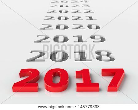 2017 future represents the new year 2017 three-dimensional rendering 3D illustration