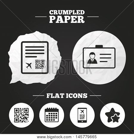 Crumpled paper speech bubble. QR scan code in smartphone icon. Boarding pass flight sign. Identity ID card badge symbol. Paper button. Vector