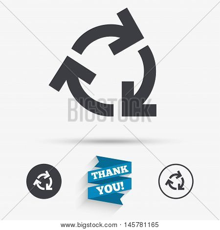 Recycling sign icon. Reuse or reduce symbol.. Flat icons. Buttons with icons. Thank you ribbon. Vector
