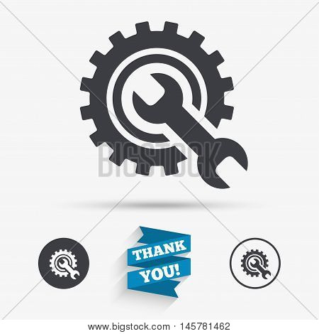 Repair tool sign icon. Service symbol. Hammer with wrench. Flat icons. Buttons with icons. Thank you ribbon. Vector