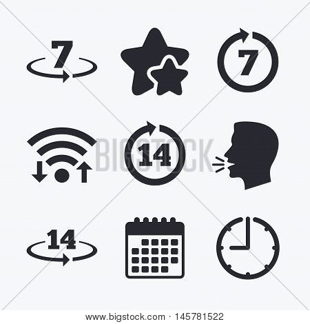 Return of goods within 7 or 14 days icons. Warranty 2 weeks exchange symbols. Wifi internet, favorite stars, calendar and clock. Talking head. Vector