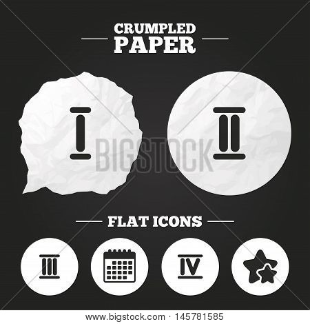 Crumpled paper speech bubble. Roman numeral icons. 1, 2, 3 and 4 digit characters. Ancient Rome numeric system. Paper button. Vector