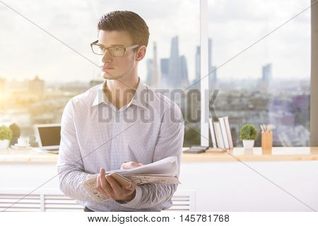 Caucasian Architect With Construction Project