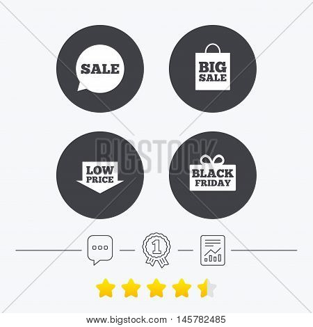 Sale speech bubble icon. Black friday gift box symbol. Big sale shopping bag. Low price arrow sign. Chat, award medal and report linear icons. Star vote ranking. Vector
