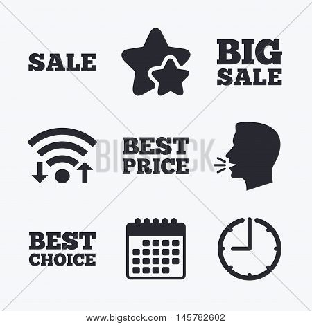 Sale icons. Best choice and price symbols. Big sale shopping sign. Wifi internet, favorite stars, calendar and clock. Talking head. Vector