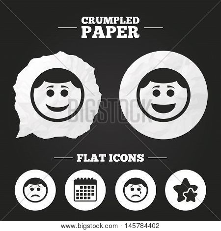 Crumpled paper speech bubble. Circle smile face icons. Happy, sad, cry signs. Happy smiley chat symbol. Sadness depression and crying signs. Paper button. Vector