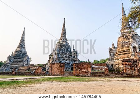 Ruins of ancient architecture three pagoda of Wat Phra Si Sanphet old temple famous attractions at Phra Nakhon Si Ayutthaya Historical Park in Ayutthaya Province Thailand