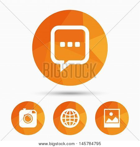 Social media icons. Chat speech bubble and world globe symbols. Hipster photo camera sign. Landscape photo frame. Triangular low poly buttons with shadow. Vector