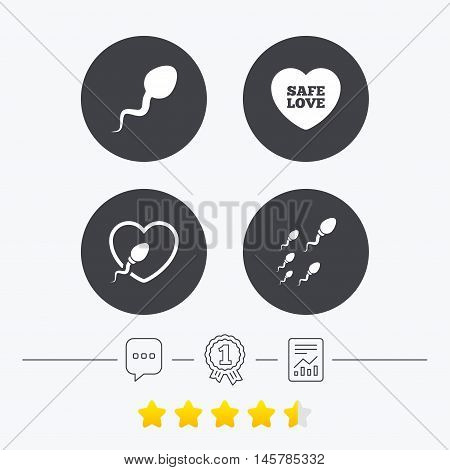 Sperm icons. Fertilization or insemination signs. Safe love heart symbol. Chat, award medal and report linear icons. Star vote ranking. Vector