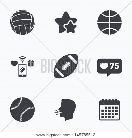 Sport balls icons. Volleyball, Basketball, Baseball and American football signs. Team sport games. Flat talking head, calendar icons. Stars, like counter icons. Vector