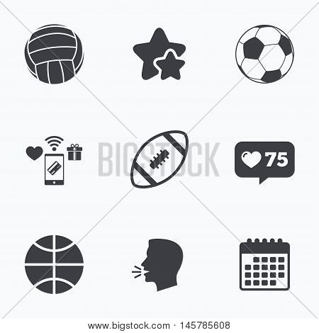 Sport balls icons. Volleyball, Basketball, Soccer and American football signs. Team sport games. Flat talking head, calendar icons. Stars, like counter icons. Vector