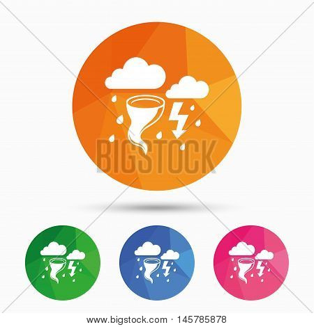 Storm bad weather sign icon. Clouds with thunderstorm. Gale hurricane symbol. Destruction and disaster from wind. Insurance symbol. Triangular low poly button with flat icon. Vector