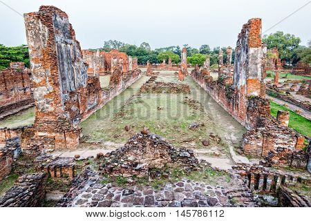 Ruins and pagoda ancient architecture of Wat Phra Si Sanphet old temple famous attractions at Phra Nakhon Si Ayutthaya Historical Park in Ayutthaya Province Thailand