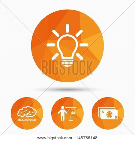 Presentation billboard, brainstorm icons. Cash money and lamp idea signs. Man standing with pointer. Scheme and Diagram symbol. Triangular low poly buttons with shadow. Vector
