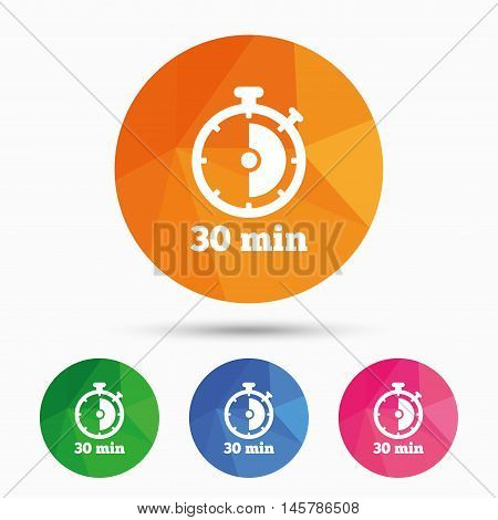Timer sign icon. 30 minutes stopwatch symbol. Triangular low poly button with flat icon. Vector
