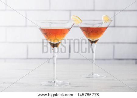 Fresh Home Made Manhattan Cocktails With Garnish