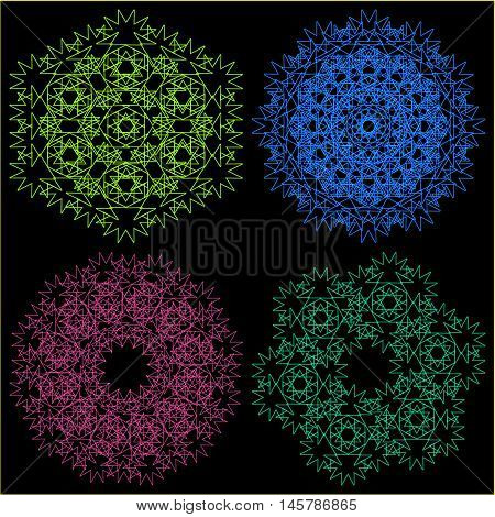 A set of four ornaments. Patterns for napkins or other round objects.