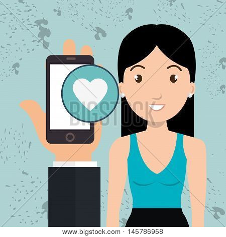 hand cellphone woman icon vector illustration eps 10