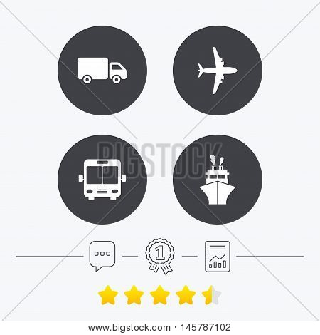 Transport icons. Truck, Airplane, Public bus and Ship signs. Shipping delivery symbol. Air mail delivery sign. Chat, award medal and report linear icons. Star vote ranking. Vector