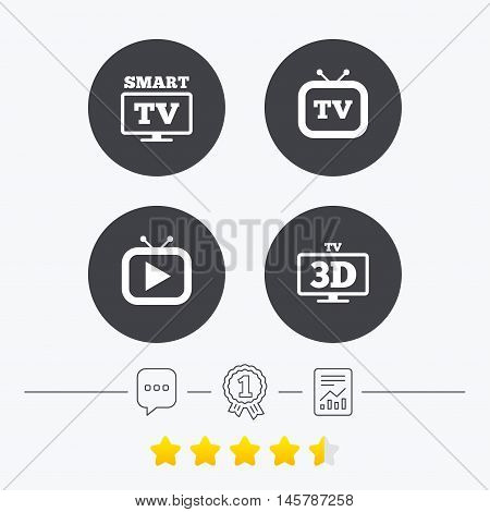Smart 3D TV mode icon. Widescreen symbol. Retro television and TV table signs. Chat, award medal and report linear icons. Star vote ranking. Vector