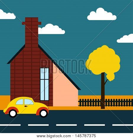 Autumn road Vector illustration Autumn landscape with an old european house and retro car on the road
