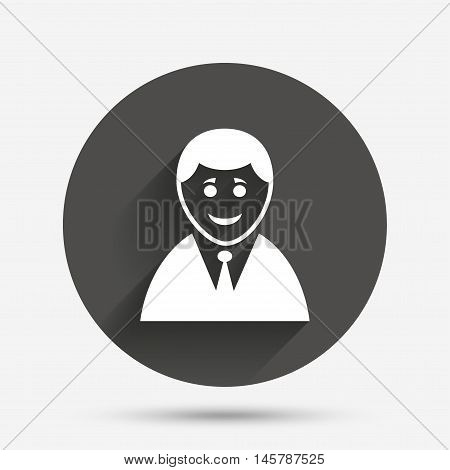User sign icon. Person symbol. Human in suit avatar. Circle flat button with shadow. Vector
