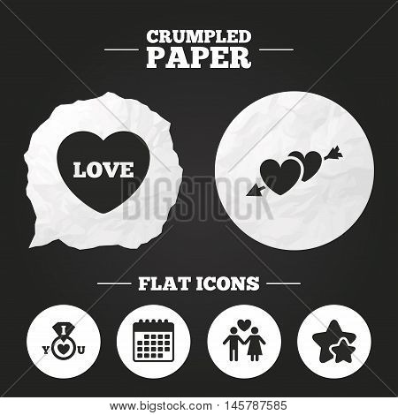 Crumpled paper speech bubble. Valentine day love icons. I love you ring symbol. Couple lovers sign. Paper button. Vector