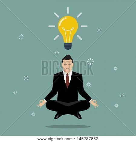 Businessman thinking during meditation. Vector illustration business concept