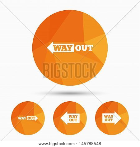 Way out icons. Left and right arrows symbols. Direction signs in the subway. Triangular low poly buttons with shadow. Vector