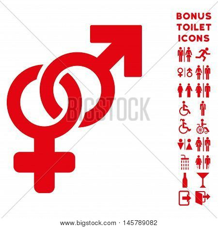 Heterosexual Symbol icon and bonus gentleman and female toilet symbols. Vector illustration style is flat iconic symbols, red color, white background.